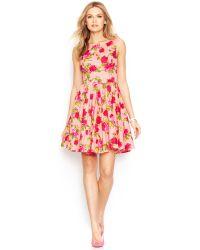 Betsey Johnson Sleeveless Rose-Print Dress - Lyst