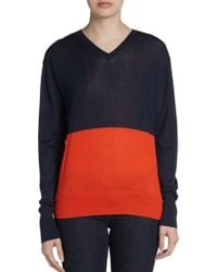 Celine Colorblock Vneck Sweater - Lyst