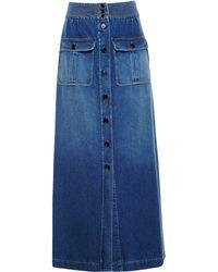 Chloé Long Denim Skirt blue - Lyst