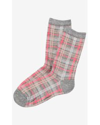 Express Plaid Crew Socks - Lyst