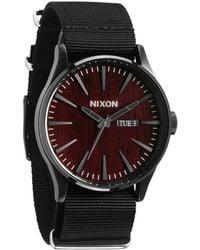 Nixon Sentry Dark Wood Black Watch black - Lyst