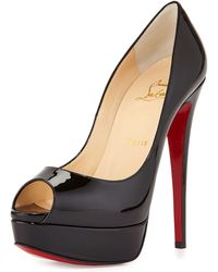 Christian Louboutin Lady Peep Patent Red Sole Pump - Lyst