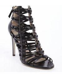 Jason Wu Black Leather Strappy Heel Sandals - Lyst