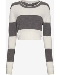A.L.C. Brandie Striped Crop Sweater - Lyst