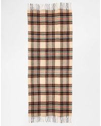 Asos Check Scarf with Tassels - Lyst