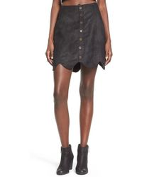 Love By Design - Black Scalloped Hem Faux Suede Skirt - Lyst