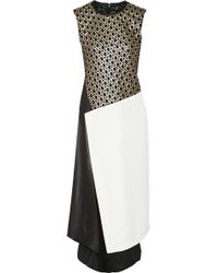 Reed Krakoff Paneled Eyelet-lace Twill and Leather Dress - Lyst