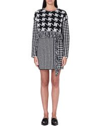 Stella McCartney Contrast Hounds Tooth Dress Black Chalk - Lyst
