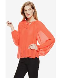 Vince Camuto Tie Neck Peasant Blouse - Lyst