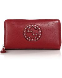 Gucci Soho Leather Zip-Around Wallet red - Lyst