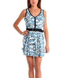 Charlotte Ronson | Overlap Pleated Tank Dress W Black Braided Belt | Lyst