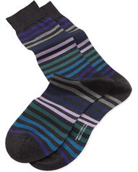 Pantherella Striped Cotton Socks - Lyst