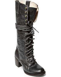 Freebird by Steven - Grany Lace Up Mid Heel Boots - Lyst