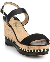 Ferragamo Mollie Cork Wedge Sandals - Lyst