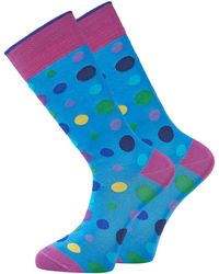 Duchamp Light Blue Spot Socks - Lyst