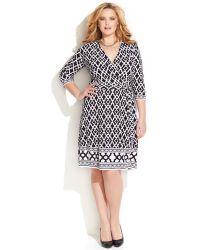 Inc International Concepts Plus Size Geo-Print Faux-Wrap Dress - Lyst