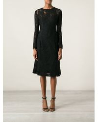 Ermanno Scervino Fitted Bodice Flared Lace Dress - Lyst