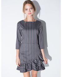 Pixie Market Grey Pin Striped Ruffle Dress gray - Lyst