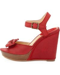 Frye Alexa Leather Bow Wedge red - Lyst