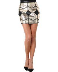 Akira Black Label Luxe Metallic Mini Skirt - Lyst