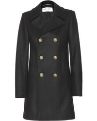 Saint Laurent Wool Coat - Lyst