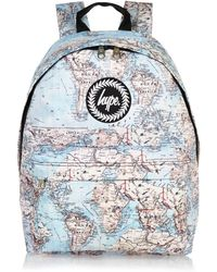 River Island Blue Hype Map Print Backpack - Lyst