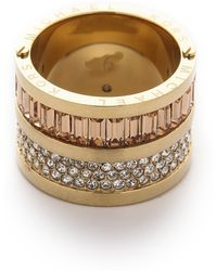 Michael Kors - Pave & Baguette Barrel Ring - Gold/Clear/Topaz - Lyst