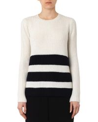 Vince Striped Wool And Cashmere-Blend Sweater - Lyst