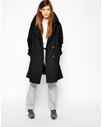 Asos Trapeze Coat In Brushed Wool - Lyst