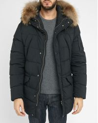 C P Company | Black Fur Hood Down Jacket | Lyst