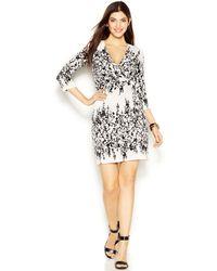 Jessica Simpson Floral-Print Faux-Wrap Dress - Lyst