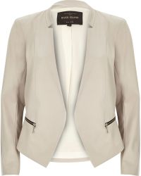 River Island Beige Tailored Fitted Blazer - Lyst