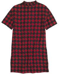 Coach X Blitz Houndstooth Ruffle Silk T-shirt Dress - Lyst