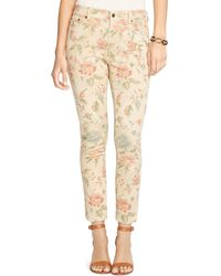 Pink Pony - Lauren Floral Print Skinny Jeans In Light Tan Multi - Lyst