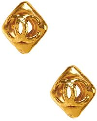 Chanel Pre-Owned Cc In Square Earring gold - Lyst