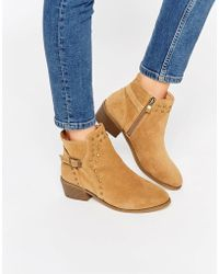Daisy Street - Tan Buckle And Stud Western Ankle Boots - Lyst