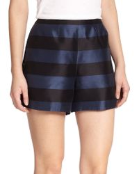 Tibi Escalante Striped Silk Shorts - Lyst