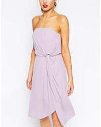 Asos Twist Soft Bandeau Midi Dress - Lyst
