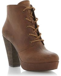 Steve Madden Raspy Leather Lace Up Ankle Boot Tanleather - Lyst