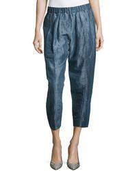 Donna Karan New York Cropped Ramie Silk Pants - Lyst