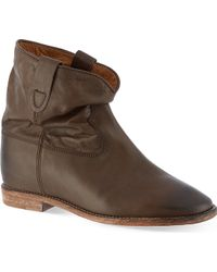 Isabel Marant Cluster Leather Ankle Boots Brown - Lyst