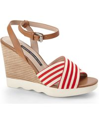 French Connection Red  Natural Jane Wedge Sandals - Lyst