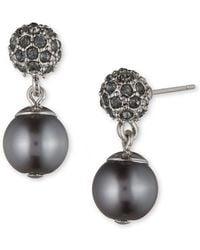 Anne Klein - Grey Faux Pearl Drop Earrings - Lyst