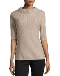 Carolina Herrera Short-Sleeve Braid-Stitched Top - Lyst