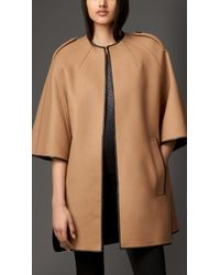 Burberry Wool Blend Leather Trim Cape - Lyst