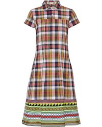 Suno Plaid Cotton Dress - Lyst
