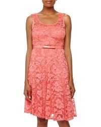 Chetta B Lace Bow-Belt Dress - Lyst