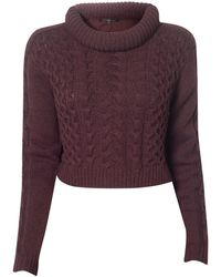 Tibi Cable Sweater Pulllover purple - Lyst