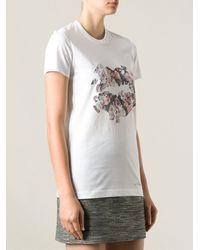Markus Lupfer Floral Lips Puzzle T-shirt - Lyst