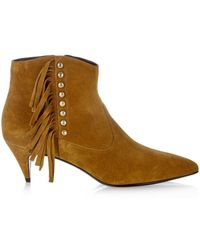 Saint Laurent Cat Fringed And Studded Suede Ankle Boots - Lyst